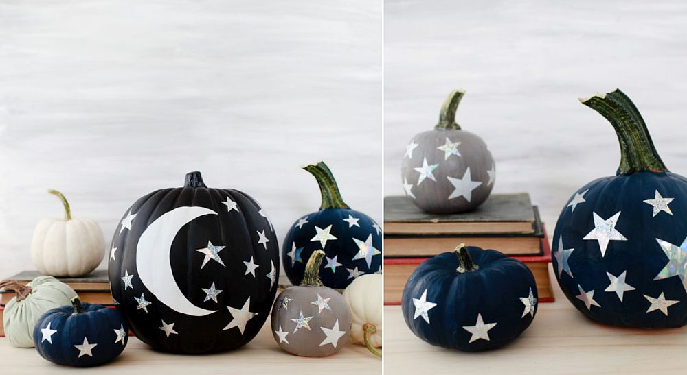 Easy to create DIY moon and stars painted pumpkins