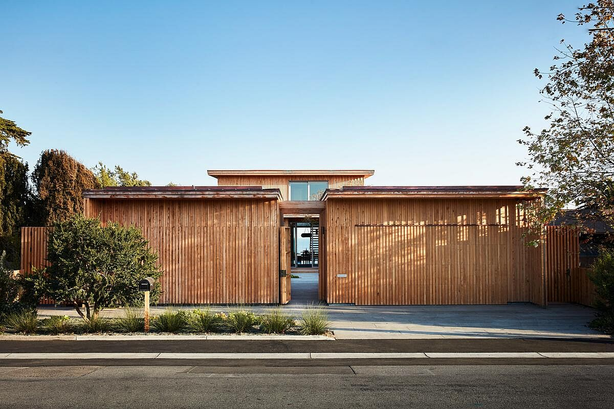 Fabulous and private street facade of the modern Surf House in Santa Cruz, California