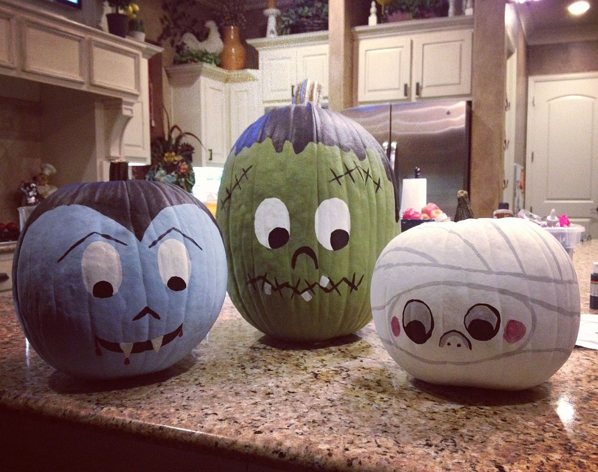Fabulous painted pumpkins blend a bit of fun with a hint of spookiness