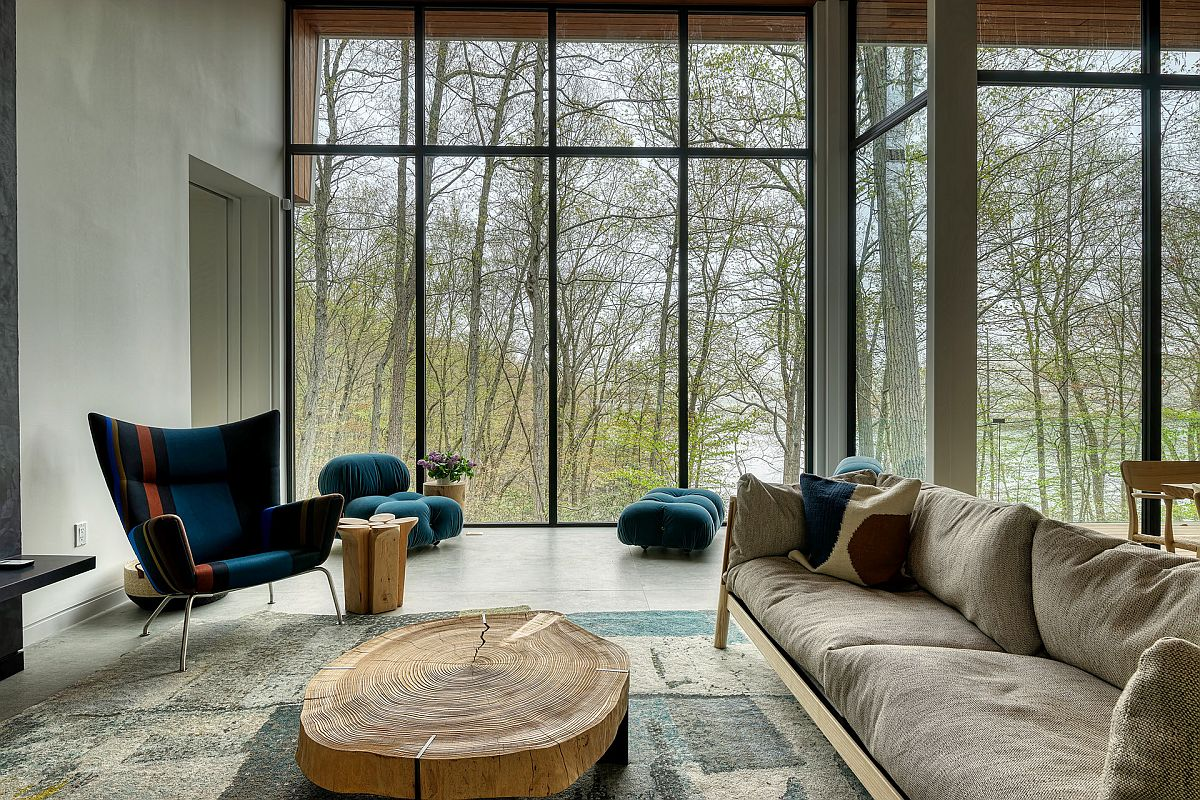 Find the right decor for the tranquil contemporary living space with glass walls