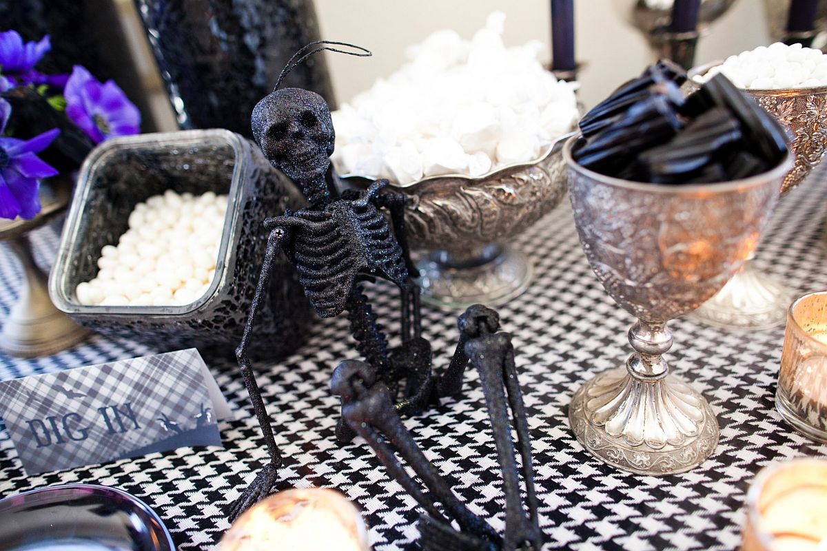 Finding the right decorative pieces for the fab Halloween-themed party table