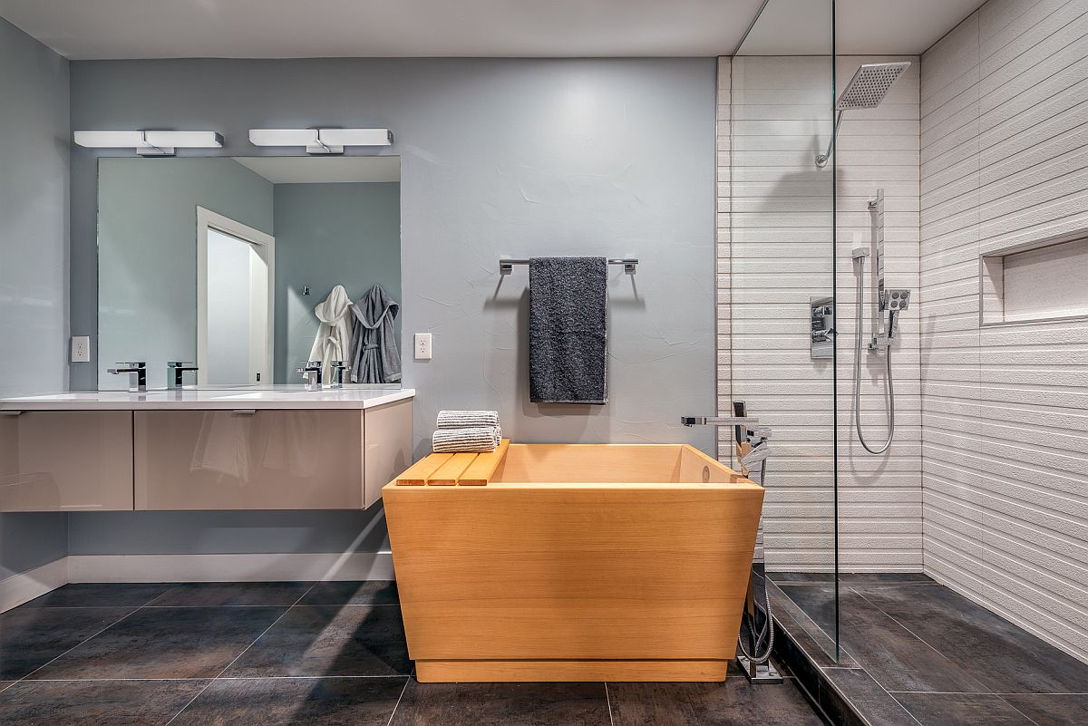 Gorgeous wooden soaking tub with a modern minimal style