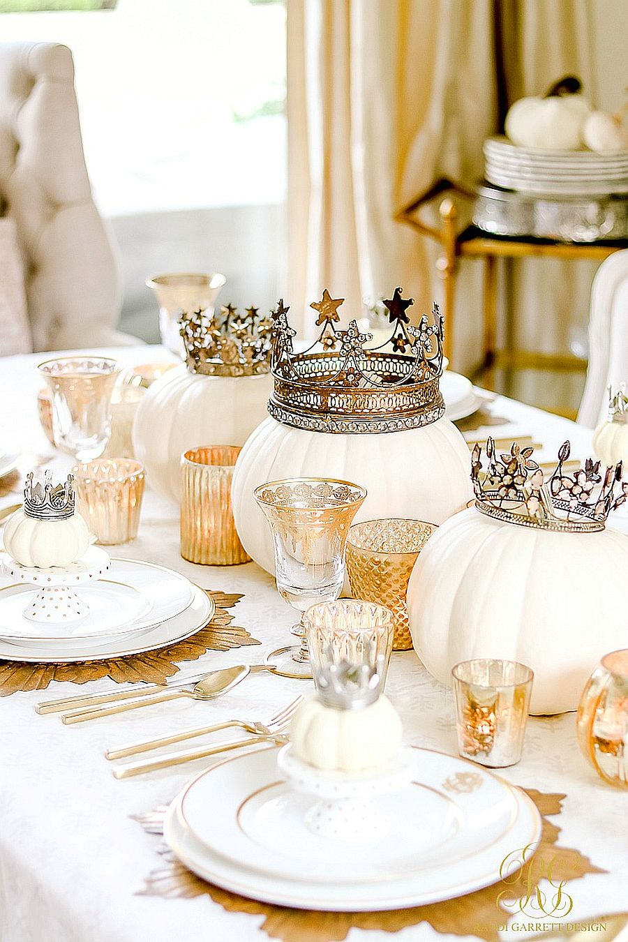 Innovative white and gold Halloween tablescape that will serve you well throughout the Holidays