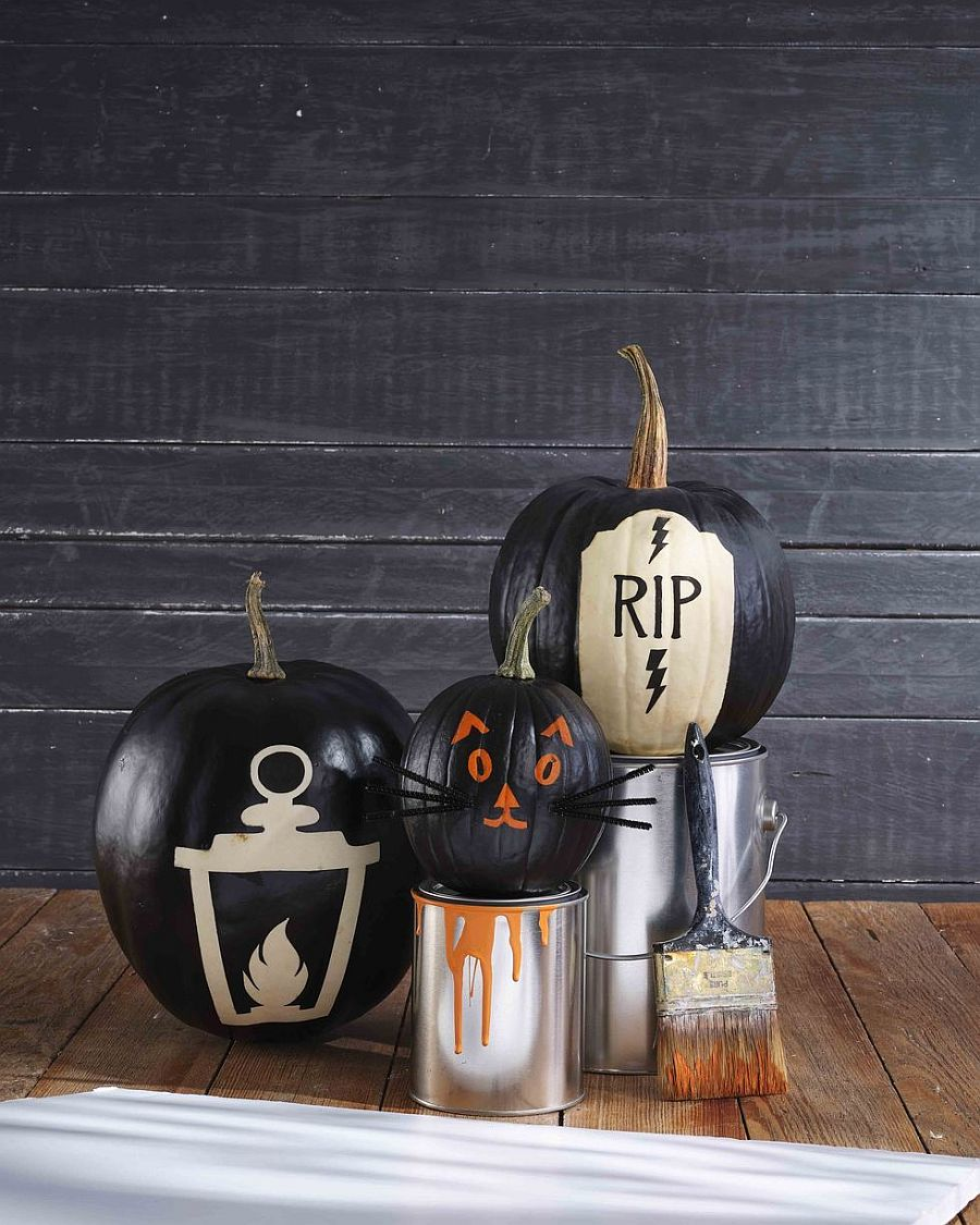 It is easy to create multiple fun patterns and decorations with painted pumpkins