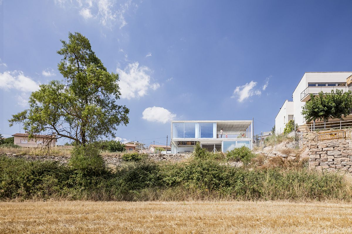 Lovely rustic landscape around the beautiful modern home in Spain