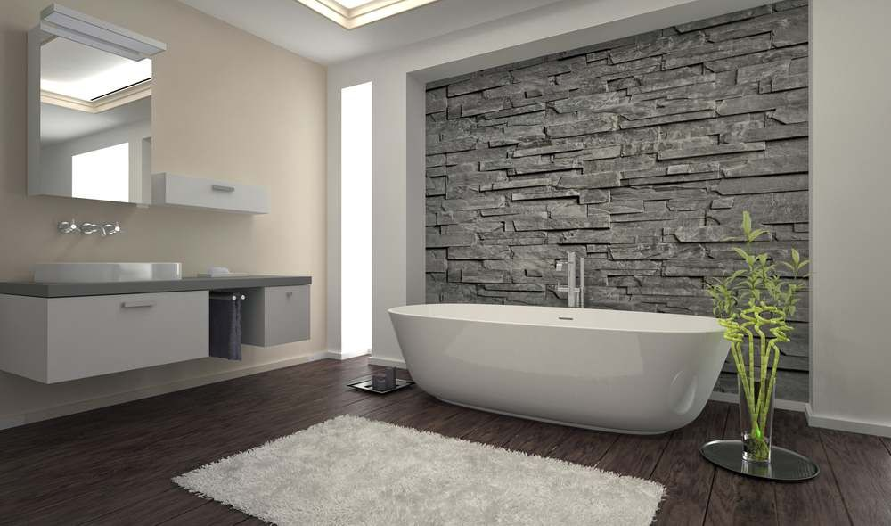 Natural stone accent wall for the polished contemporary bathroom