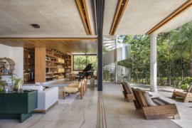 L-Shaped Contemporary Home in Brazil with a Green Roof and Lovely Courtyard