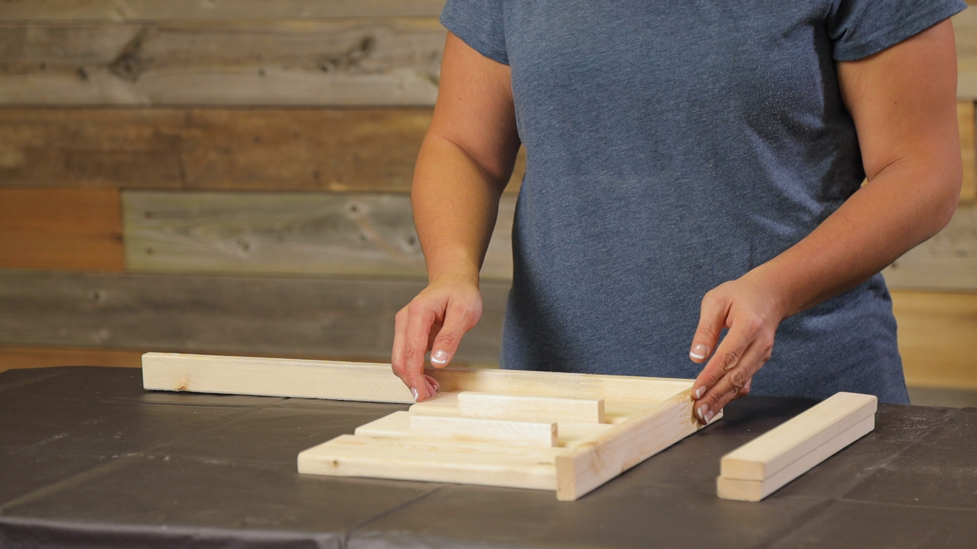 wooden jig is used to set up palette side