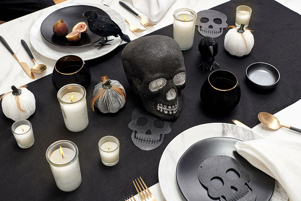 Skulls are a popular and easy-to-incorporate decorating choice for the Halloween dining table