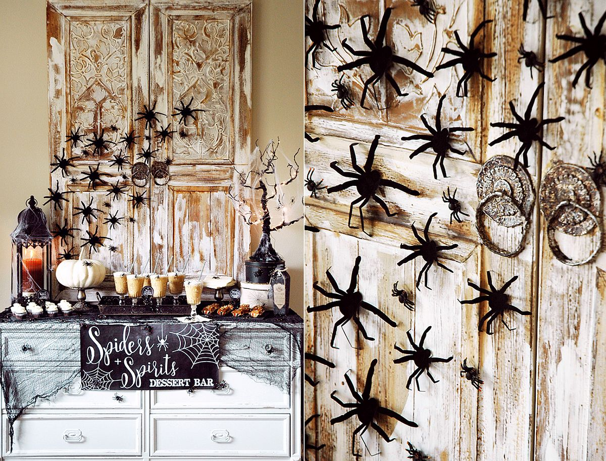 Spiders + Spirits themed Halloween dessert bar for the dining space