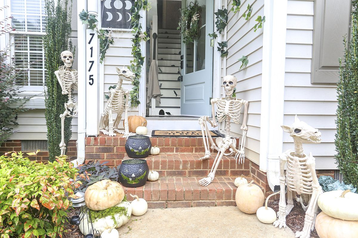 Spooky and creative porch decorating idea for Halloween full of bones!