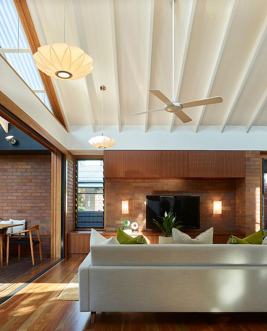 Transition between the living area and the kitchen and dining space is seamless