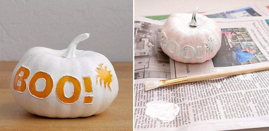 White paint a simple stencil can help create multiple fun Halloween pumpkin decorative pieces