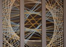 close up finished pendulum painting hanging