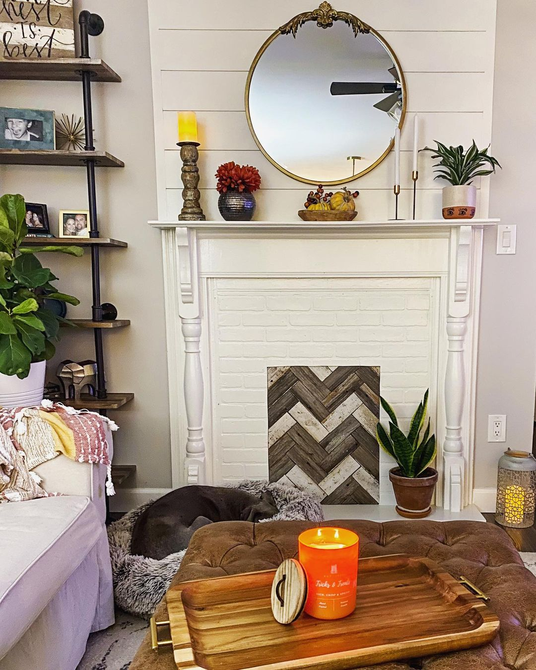 wooden chevron pattern in place of firebox for faux fireplace