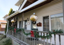 porch with two hanging diy ornaments