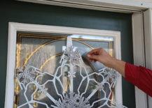 close up of hanger snowflake on door