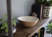finished book page rope bowl on shelf