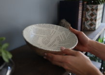 interior of finished book page rope bowl