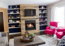 a fireplace surround made of distressed wood
