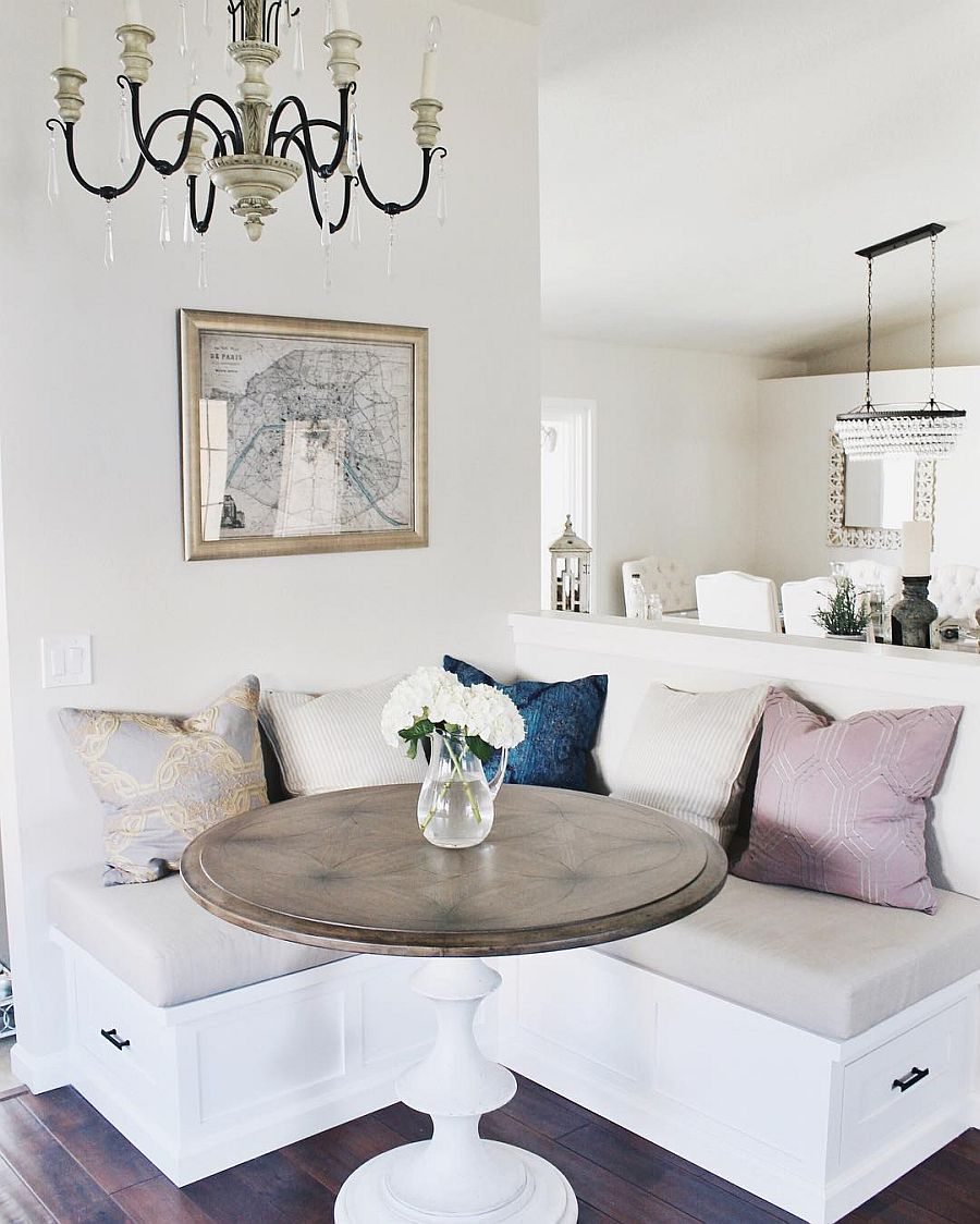 Built-in bench with comfy seating is the perfect place for a cool breakfast zone
