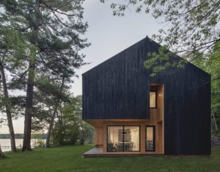 Built for an Active Lifestyle: Lakeside Cabin in Canada with a Dashing, Dark Exterior