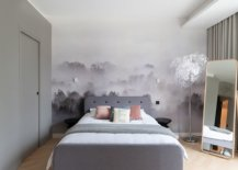 Fabulous-mural-in-the-backdrop-steals-the-show-in-this-lovely-little-Scandinavian-style-bedroom-with-gray-bed-and-drapes-25376-217x155
