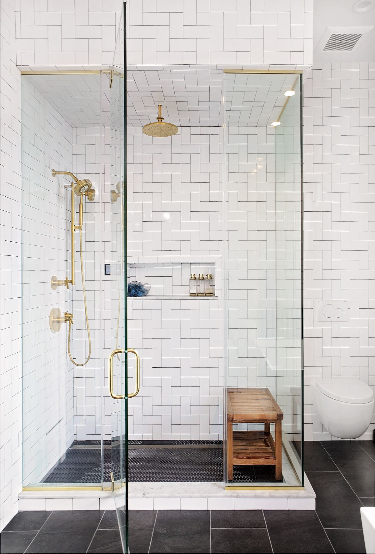 Glass shower area for the bathroom in white with a modern appeal