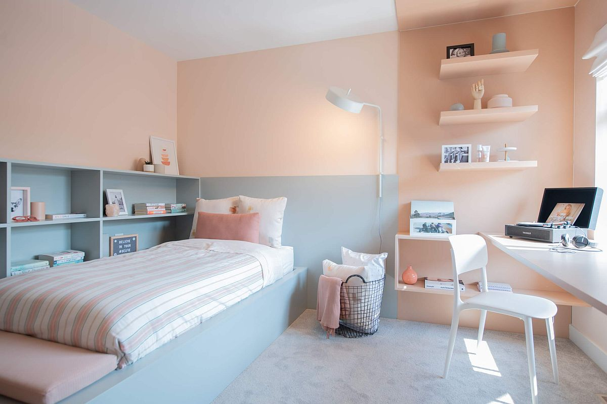 Gorgeous two-tone bedroom in pastel pink and wonderful purple