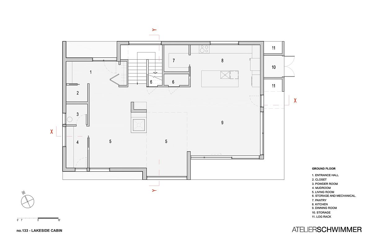 Ground level floor plan of lakeside cabin in Canada