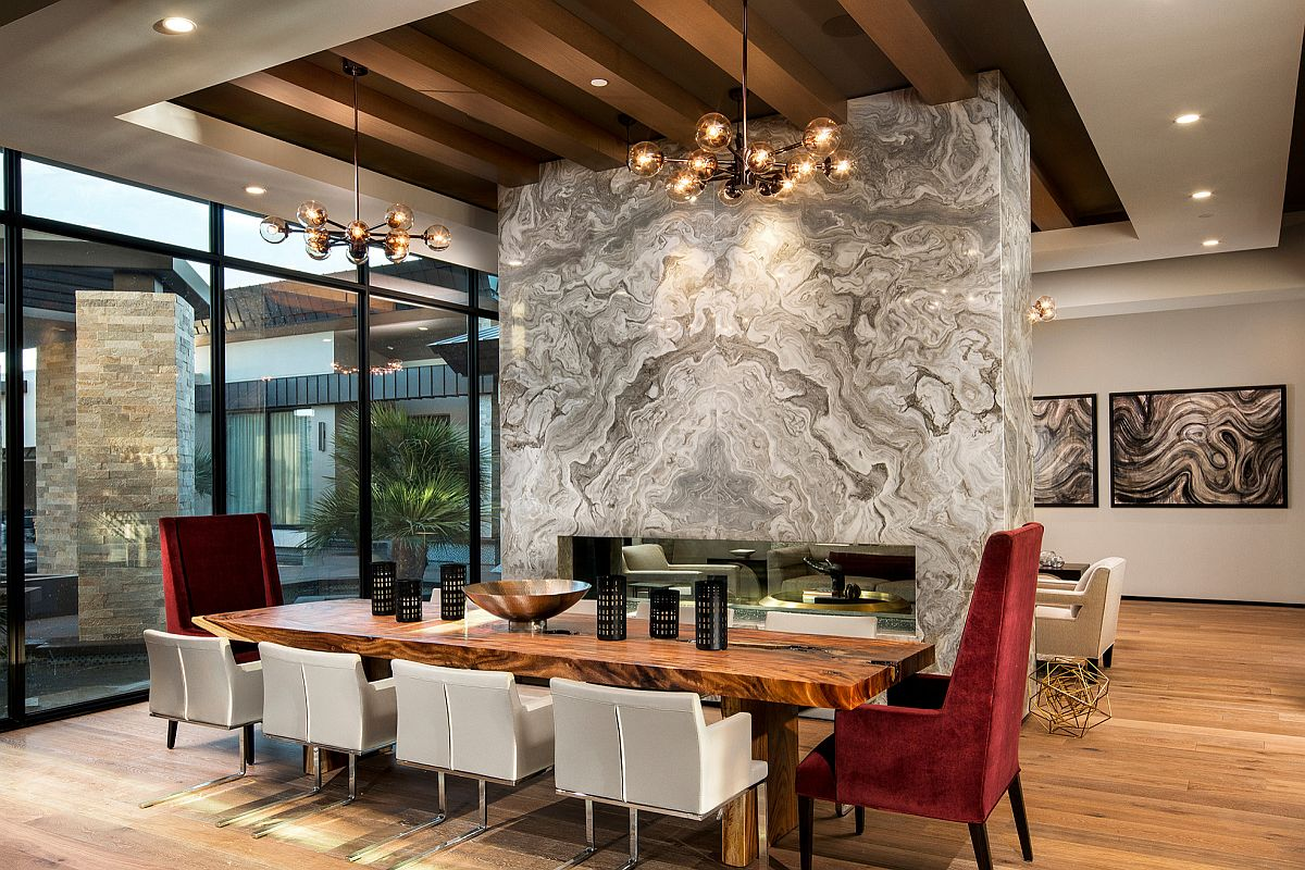It is the two sided fireplace wall that makes the biggest visual impact in here