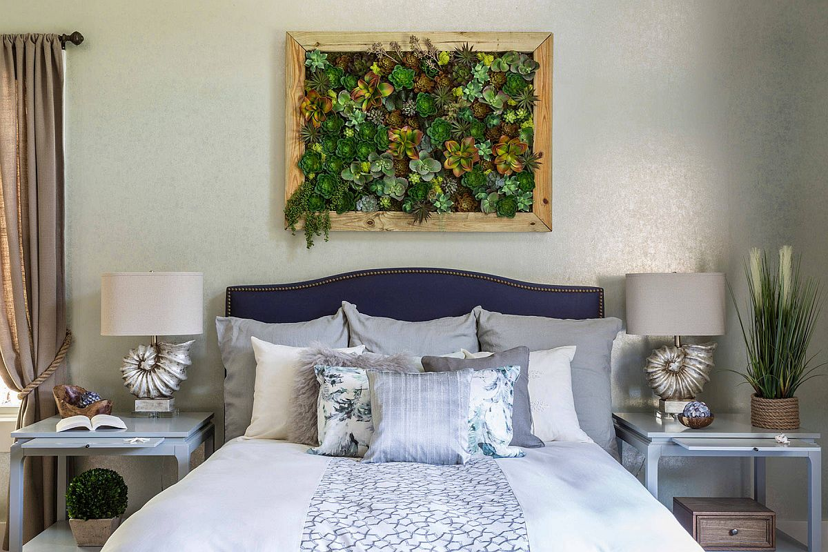 Living wall addition on the headboard wall makes an instant impact in here