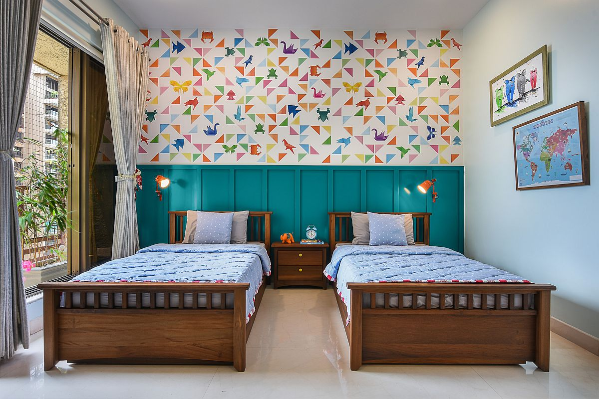 Multicolored wallpaper in the kids' room adds pattern without taking away from a sense of sophistication