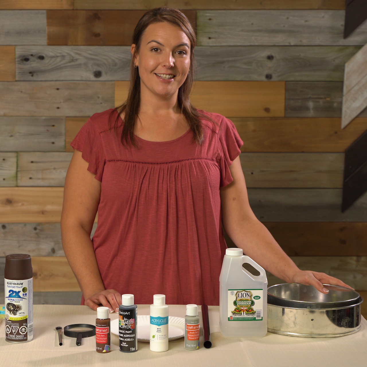 Jess with supplies for tiered rustic tray