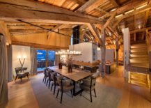 Rustic-style-dining-room-for-Chalet-style-home-with-a-lovely-two-sided-fireplace-74876-217x155