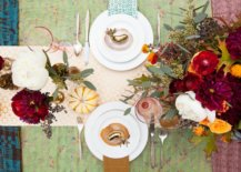 a thanksgiving table decorated with bright patterns