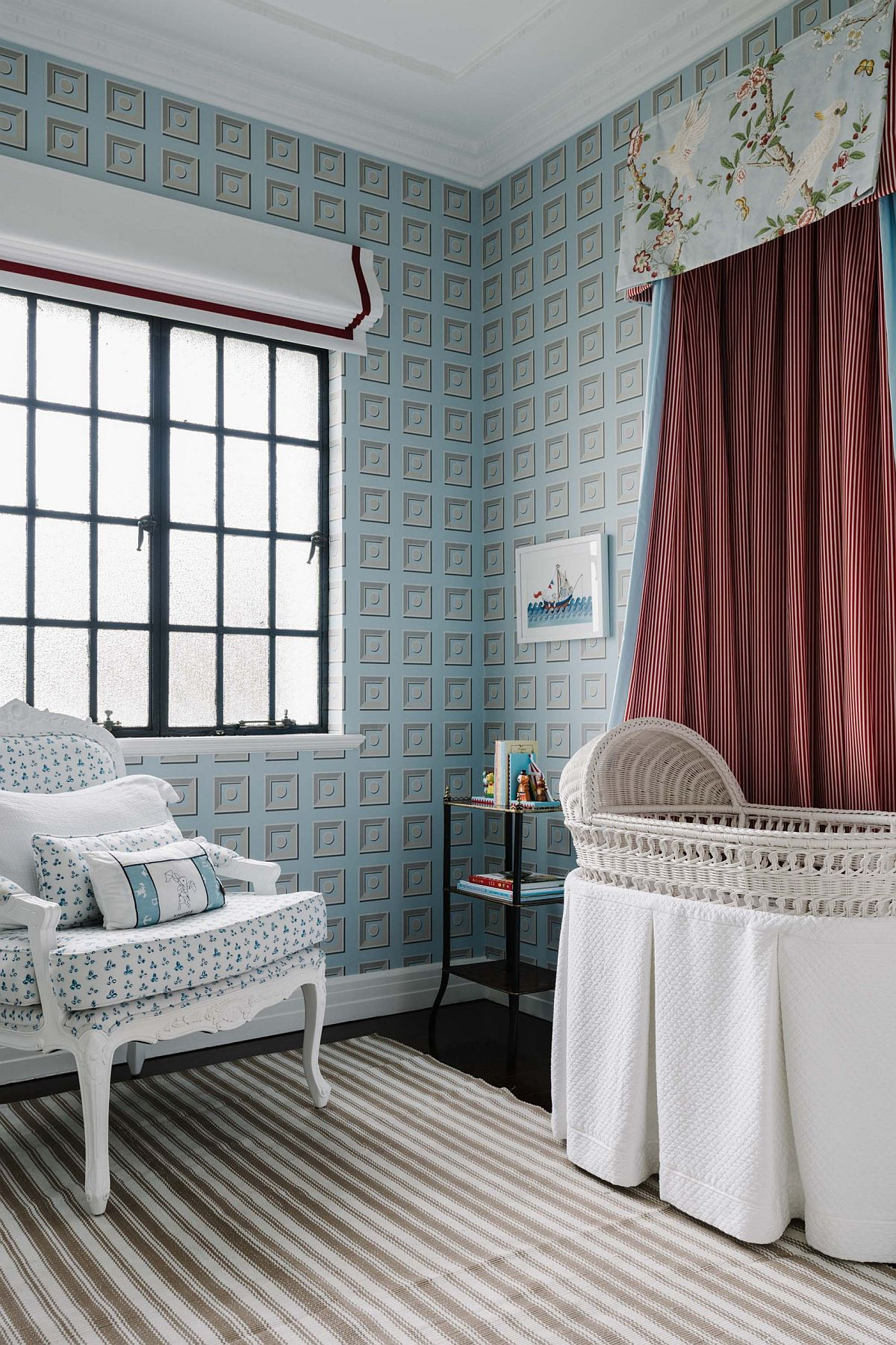 Wallpaper brings fun color and pattern to the modern traditional kids' room with a difference
