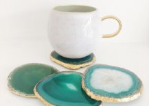 agate coaster in green with gold edge