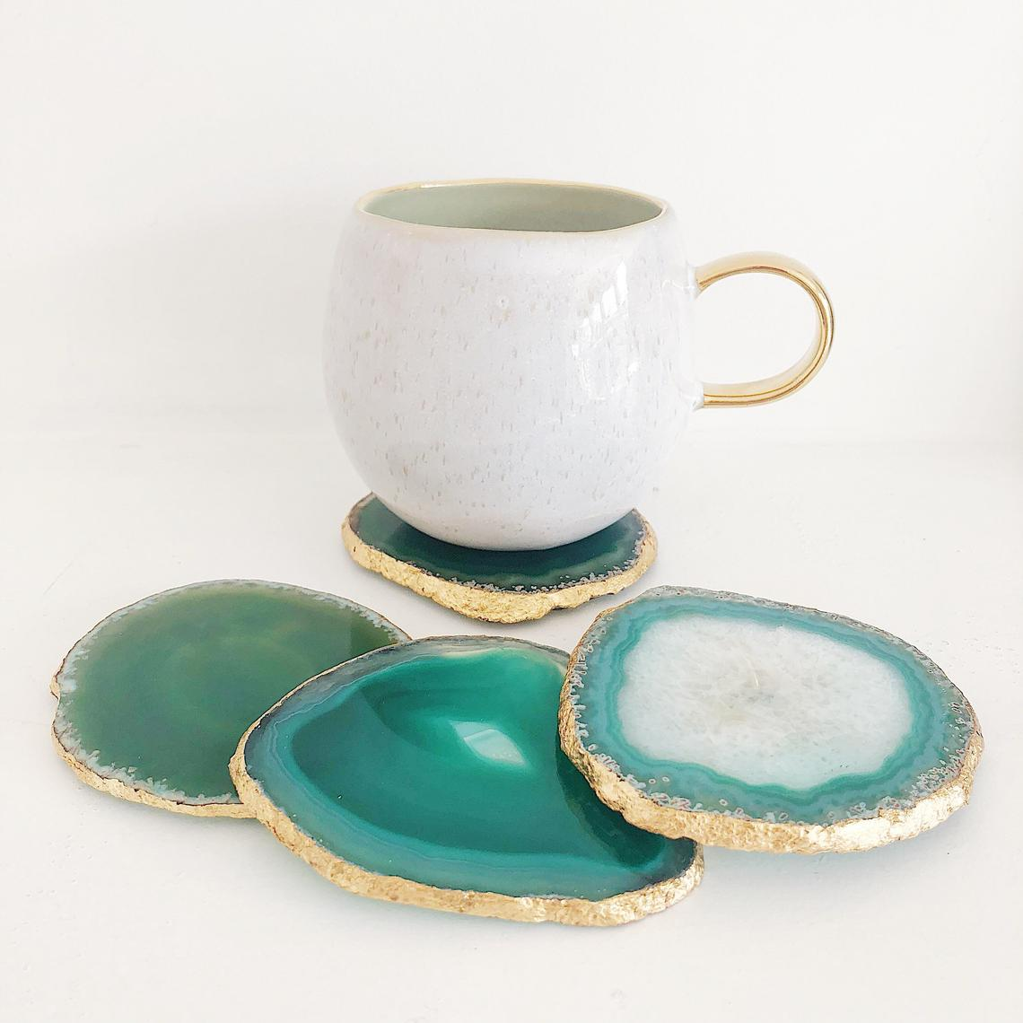 Agate coasters in green with a gold edge