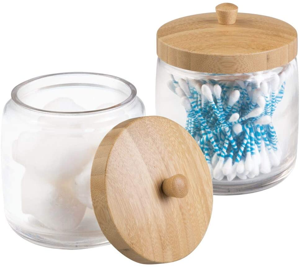 Glass bathroom vanity storage canister jars