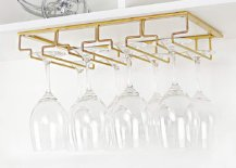 gold wine glass rack under cabinet