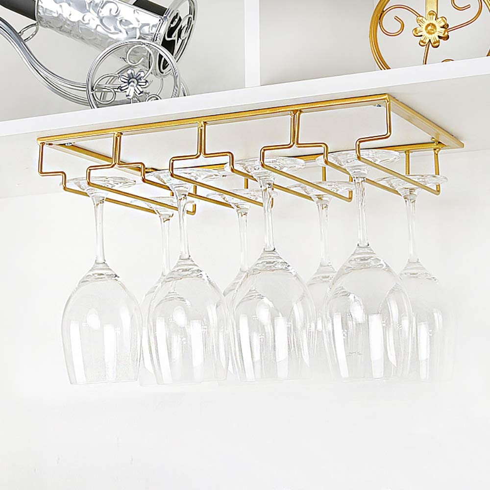 Gold wine glass under-cabinet rack