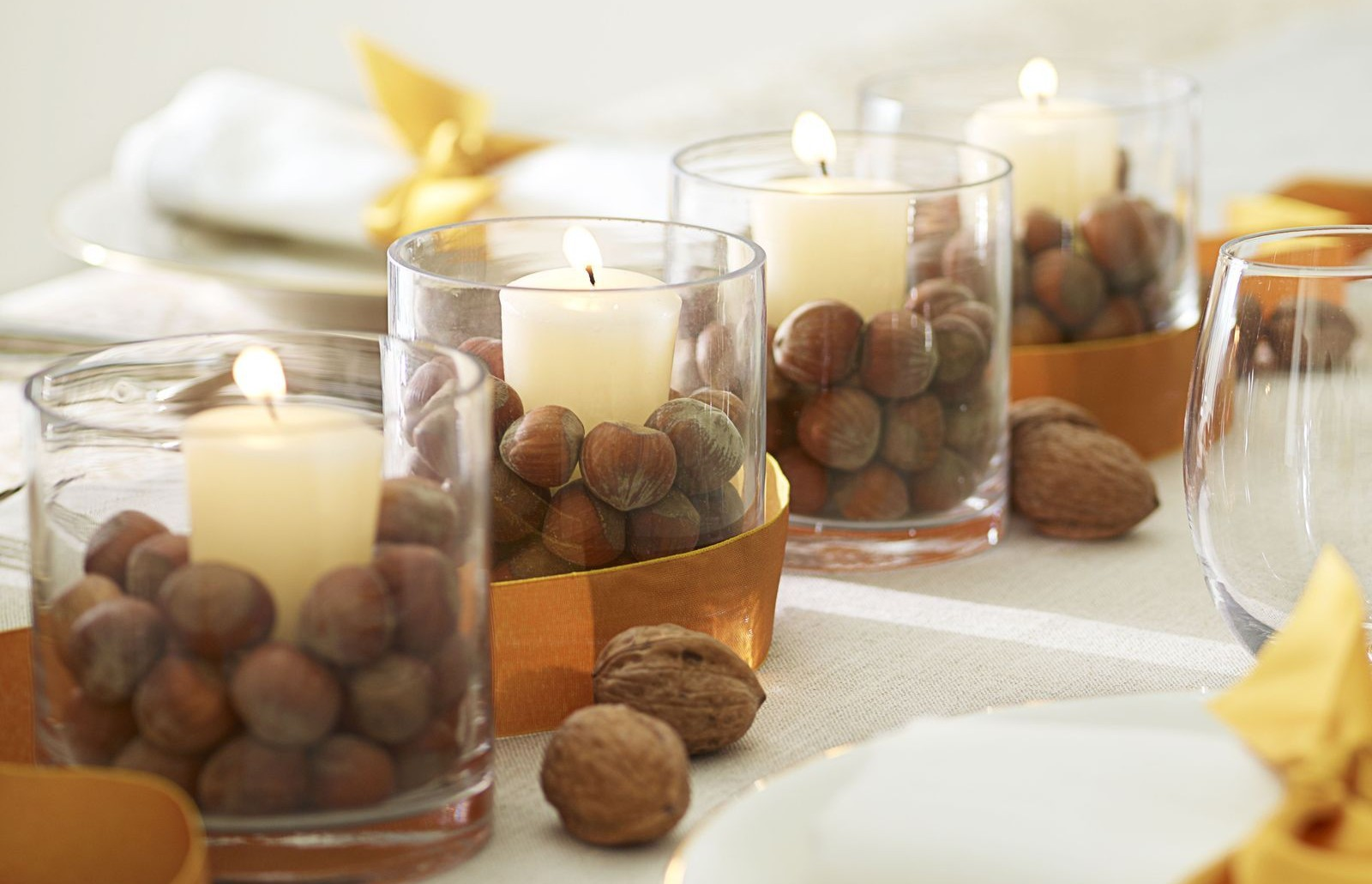 candle votives filled with nuts