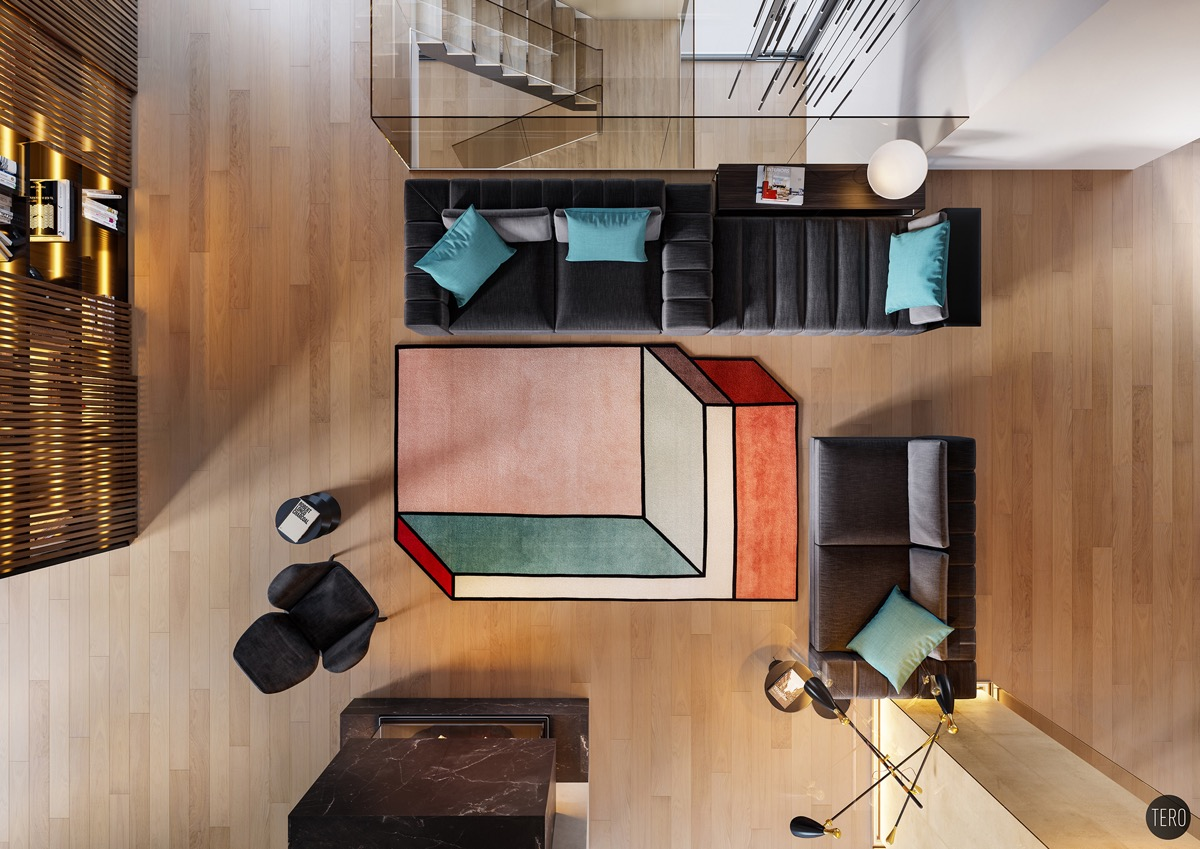 overhead shot of large geometric rug at center of living room