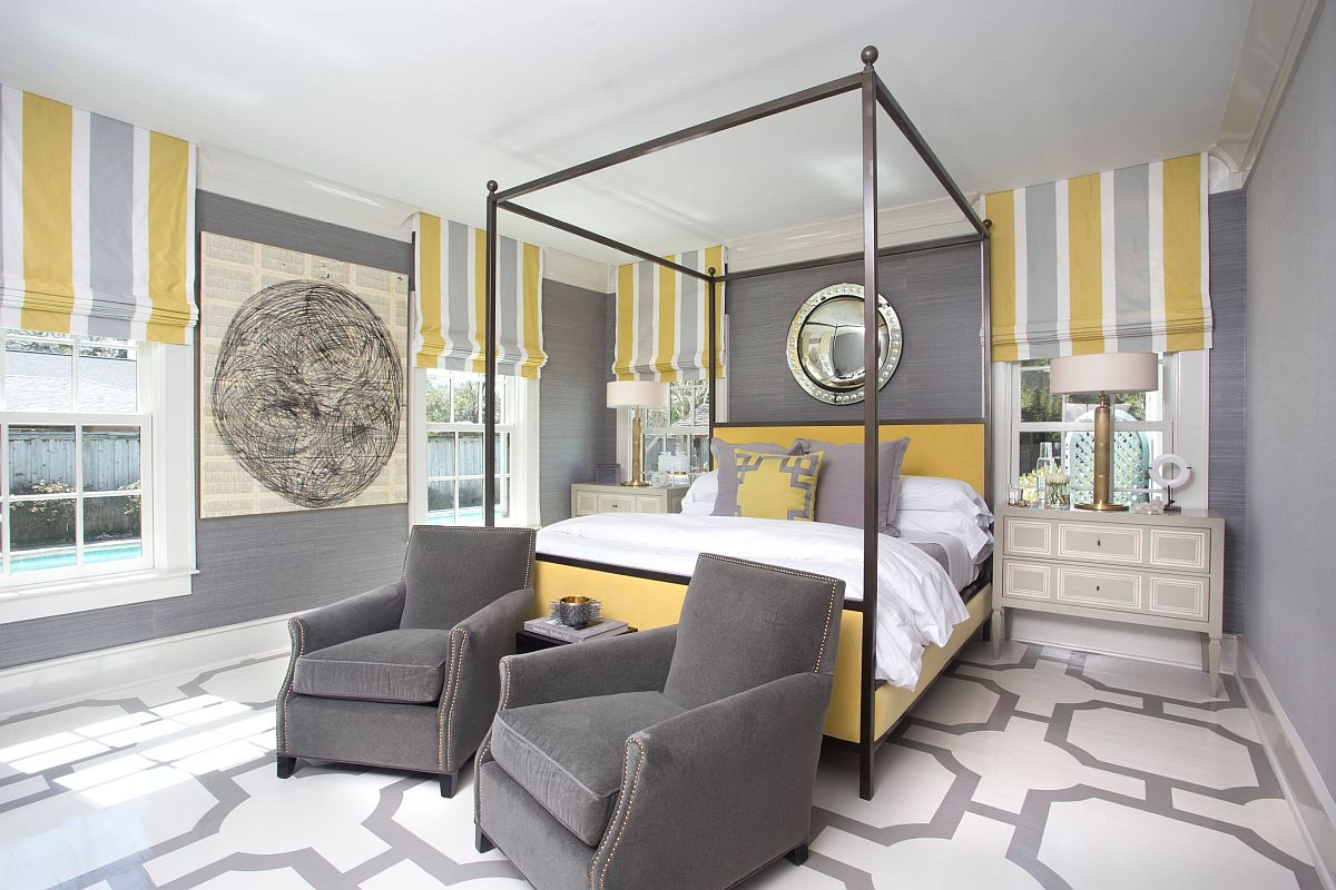 A bedroom color scheme that you will see more and mre in 2021 – yellow and gray