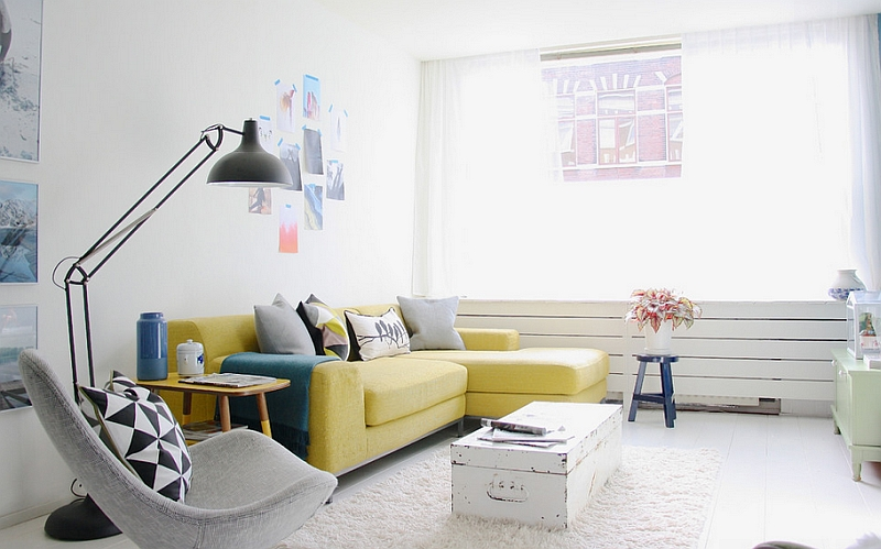 Add that brilliant yellow sofa to the living room in neutral hues to create an instant focal point