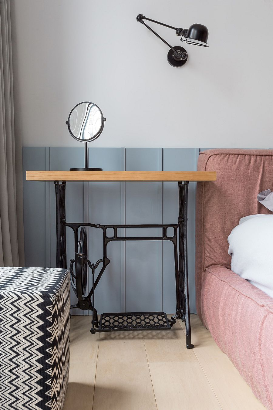 Base of old sewing machine turned into a fab bedside table