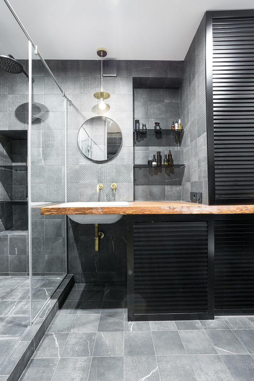Black and gray contemporary bathroom idea