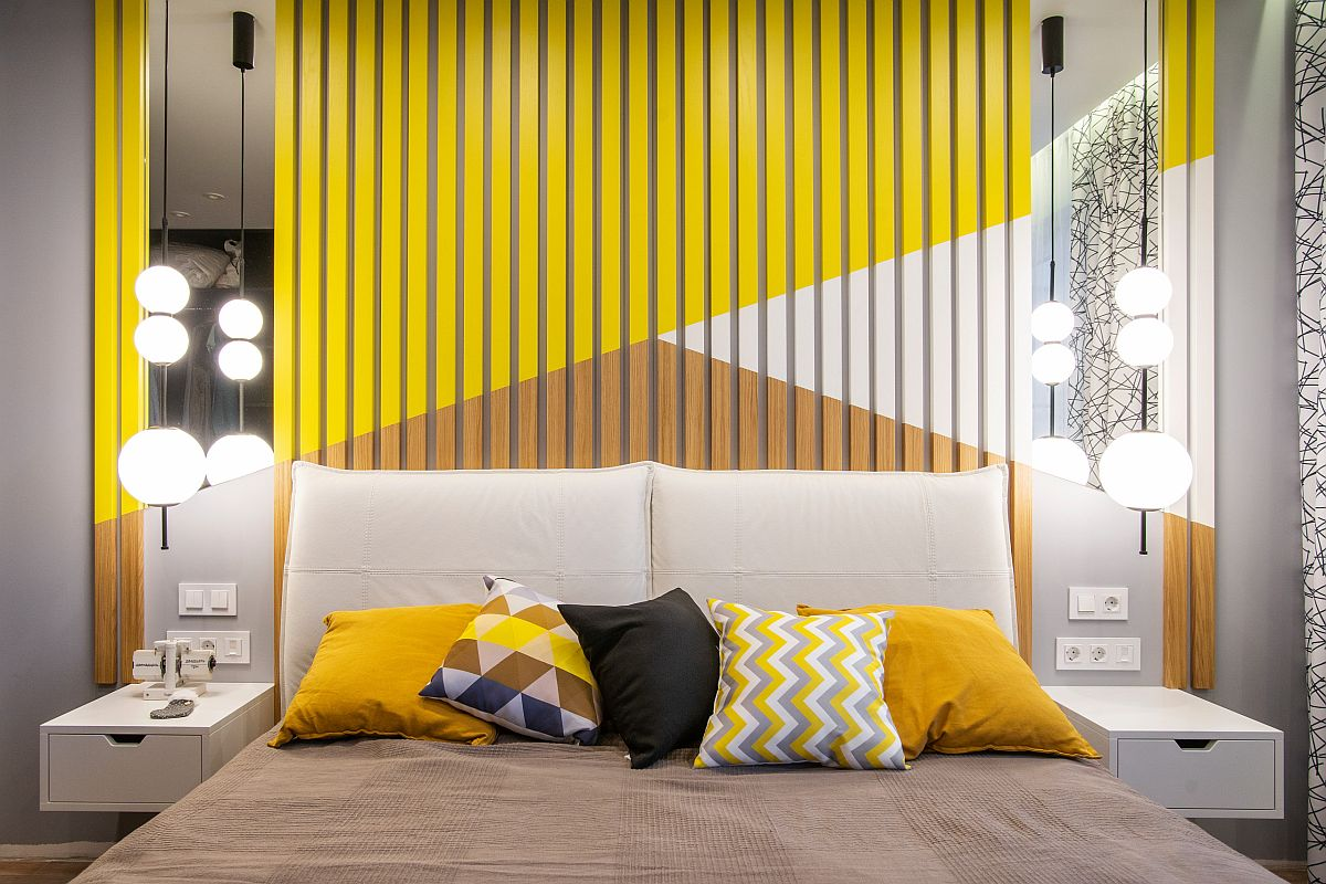 Combine yellow and gray with white for a dashing contemporary bedroom