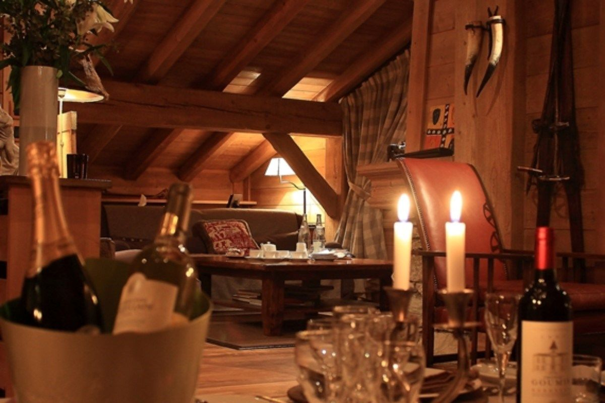 Comfortable living area and ample luxury pamper you at this classic alpine chalet